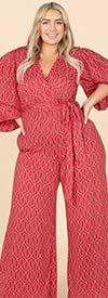 KarenT- 4016 - Womens Balloon Sleeve Surplice Neckline Style Wide Leg Belted Jumpsuit