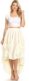 KarenT-5088-Off-White - Womens High-Low Style Pleated Skirt With Elastic Waist