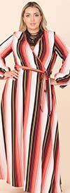 KarenT-5155-Stripe / Multi Print - Womens Mock Wrap Style Dress In Print Design