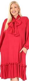 KarenT-9052 - Ruffle Hem Long Sleeve Dress With Neckline Bow