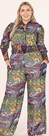 KarenT-9131-Olive Print - Womens Printed Pant Set With Smocked Crop Top Design