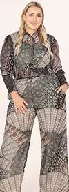 KarenT-9131-Black / Multi Print - Womens Print Pant Set With Smocked Crop Top Design
