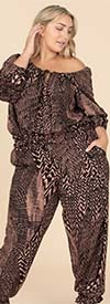 KarenT-9153-Black / Pink - Womens Gathered Cuff Pant Set With Off-Shoulder Top Design
