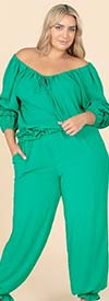 KarenT-9153-Green - Womens Gathered Cuff Pant Set With Off-Shoulder Top Design