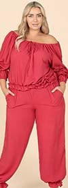 KarenT-9153-Red - Womens Gathered Cuff Pant Set With Off-Shoulder Top Design