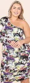 KarenT-9155-Black / Multi Print - One-Shoulder Style Dress With Belt