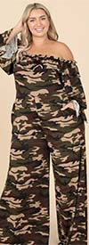 KarenT- 9162-Camo - Womens Off-Shoulder Style Wide Leg Ruffle Trim Jumpsuit