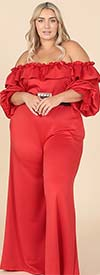 KarenT- 9162-Red - Womens Off-Shoulder Style Wide Leg Ruffle Trim Jumpsuit