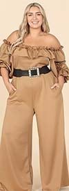 KarenT- 9162-Taupe - Womens Off-Shoulder Style Wide Leg Ruffle Trim Jumpsuit