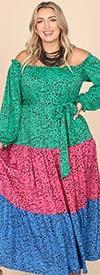KarenT-9166 - Tiered Maxi Dress In Colorblock Design Print