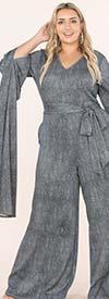 KarenT- 9168-Gray - Womens Extended Split Sleeve Style Wide Leg Belted Jumpsuit