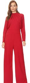 KarenT 19233-Red - Long Sleeve Womens Wide-Leg Back Zipper Jumpsuit With Loop Accents