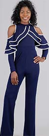 KarenT 1982 Two-Tone Ruffled Detail Cold Shoulder Jumpsuit