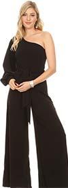 KarenT 2014-Black - One Split Sleeve Design Womens Wide-Leg Jumpsuit