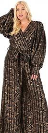 KarenT 4001-Gold - Surplice Neckline Womens Jumpsuit With Sash In Metallic Print