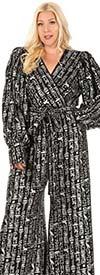 KarenT 4001-Silver - Surplice Neckline Womens Jumpsuit With Sash In Metallic Print