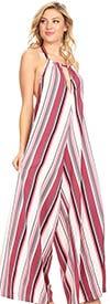 KarenT 5025-Pink - Womens Vertical Striped Halter Top Wide-Leg Jumpsuit