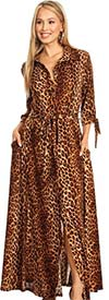 KarenT 5062-Animal - Womens Long-Sleeve Button-Up Belted Maxi Dress With Tie Accents