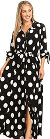 KarenT 5062-BlackWhite - Womens Long-Sleeve Button-Up Belted Polka-Dot Maxi Dress With Tie Accents