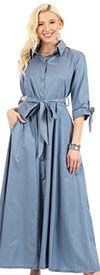 KarenT 5062-Denim - Womens Long-Sleeve Button-Up Belted Maxi Dress With Tie Accents