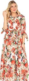 KarenT 5062-Floral - Womens Long-Sleeve Button-Up Belted Maxi Dress With Tie Accents