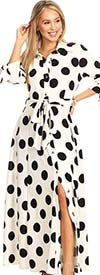 KarenT 5062-WhiteBlack - Womens Long-Sleeve Button-Up Belted Polka-Dot Maxi Dress With Tie Accents