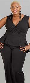 KarenT-5077 - Sleeveless Peplum Top Ladies Jumpsuit With Surplice Neckline