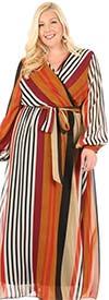 KarenT-5121-Burgundy - Multi Stripe Chiffon Print Long Sleeve Maxi Dress With Sash