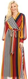 KarenT-5121-Red Multi Stripe Chiffon Print Long Sleeve Maxi Dress With Sash
