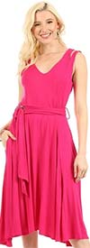 KarenT-5129-Fuchsia - Womens Sleeveless V-Neck Circle Dress With Belt