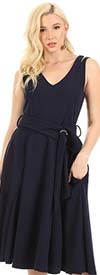 KarenT-5129-Navy - Womens Sleeveless V-Neck Circle Dress With Belt