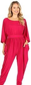 KarenT 5137-Fuchsia - Harem Pant Style Womens Jumpsuit With Pockets
