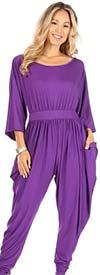 KarenT 5137-Purple - Harem Pant Style Womens Jumpsuit With Pockets