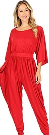 KarenT 5137-Red - Harem Pant Style Womens Jumpsuit With Pockets