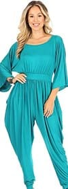 KarenT 5137-Turquoise - Harem Pant Style Womens Jumpsuit With Pockets