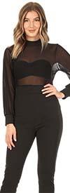 KarenT 5139-Black - Sheer Top Design Womens Jumpsuit