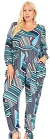 KarenT 5142-BlueMulti - Womens Jumpsuit With Ankle Bow Detail