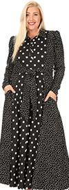 KarenT 5145-BlackWhite - Womens Polka-Dot Dress With Pockets And Sash