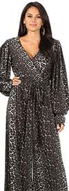 KarenT 6016NP-BlackAnimal - Print Design Bishop Sleeve Surplice Neckline Jumpsuit