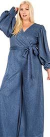KarenT 6016NP-Denim - Womens Bishop Sleeve Surplice Neckline Jumpsuit