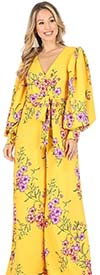 KarenT 6016P - Bishop Sleeve Wide-Leg Style Womens Floral Print Design Jumpsuit