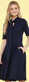 KarenT-6051S-Navy - Short Sleeve Dress With Bow Neckline And Pockets