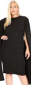 KarenT-6063-Black - Long Open Cape Sleeve Midi Dress