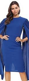KarenT-6063-Royal - Long Open Cape Sleeve Midi Dress
