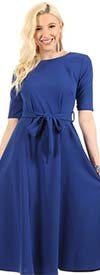 KarenT-7011SS-Royal - Half Sleeve A-Line Dress With Tie Belt