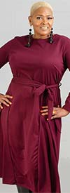 KarenT-7021KT-DarkBurgundy - Womens Long-Sleeve A-Line Dress With Sash
