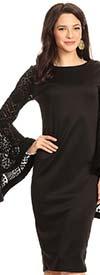 KarenT 8019-Black - Ladies Dress With Wide Lace Bell Sleeves