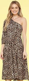 KarenT-8026-Animal - One Shoulder Style Womens Midi Dress