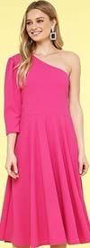 KarenT-8026-Fuchsia - One Shoulder Style Womens Midi Dress