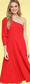 KarenT-8026-Red - One Shoulder Style Womens Midi Dress